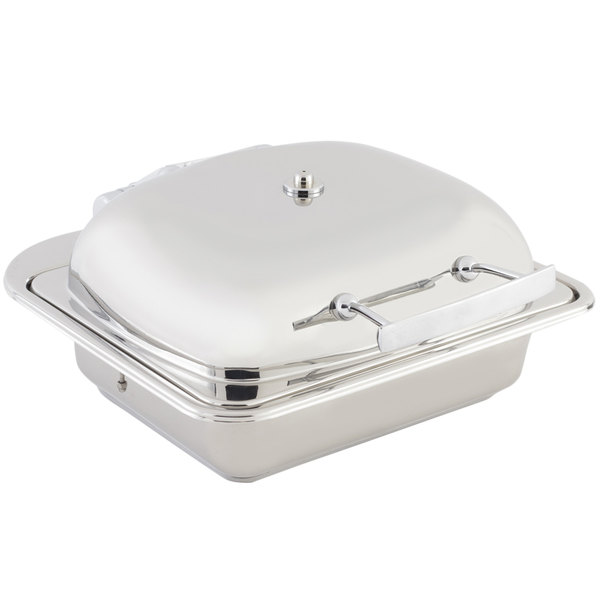 Bon Chef 20302 3.5 Qt. Small Square Stainless Steel Mini Induction Chafer with Solid Lid
