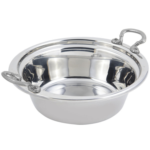 "Bon Chef 5255HRSS 13"" x 12"" x 3"" Stainless Steel 2.5 Qt. Plain Design Casserole Food Pan with Round Stainless Steel Handles"