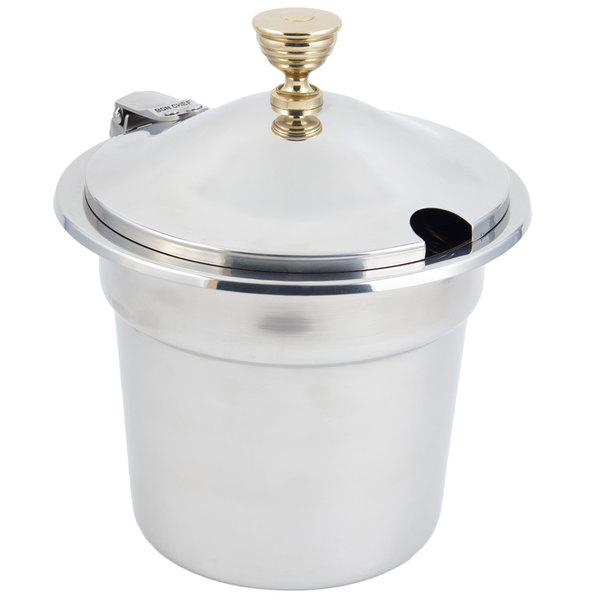 """Bon Chef 5211WHC 10 5/8"""" x 8 1/4"""" Stainless Steel 7 Qt. Plain Design Soup Inset with Hinged Cover"""