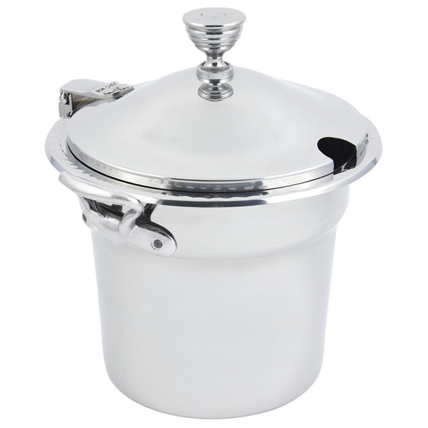 "Bon Chef 5611WHCHRSS 10 5/8"" x 8 1/4"" Stainless Steel 7 Qt. Arches Design Soup Tureen with Chrome Accents and Round Stainless Steel Handles"