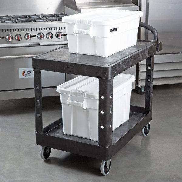 Rubbermaid FG452500BLA Black Medium Two Flat Shelf Utility Cart