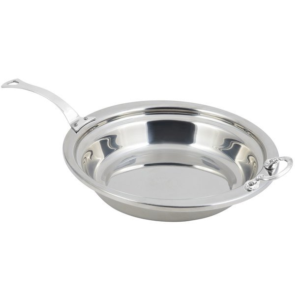"Bon Chef 5255HLSS 13"" x 12"" x 3"" Stainless Steel 2.5 Qt. Plain Design Casserole Food Pan with Long Stainless Steel Handle"