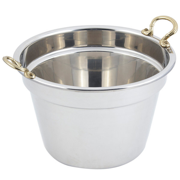 """Bon Chef 5214HR 12"""" x 8"""" Stainless Steel 11 Qt. Plain Design Soup Inset with Round Brass Handles"""