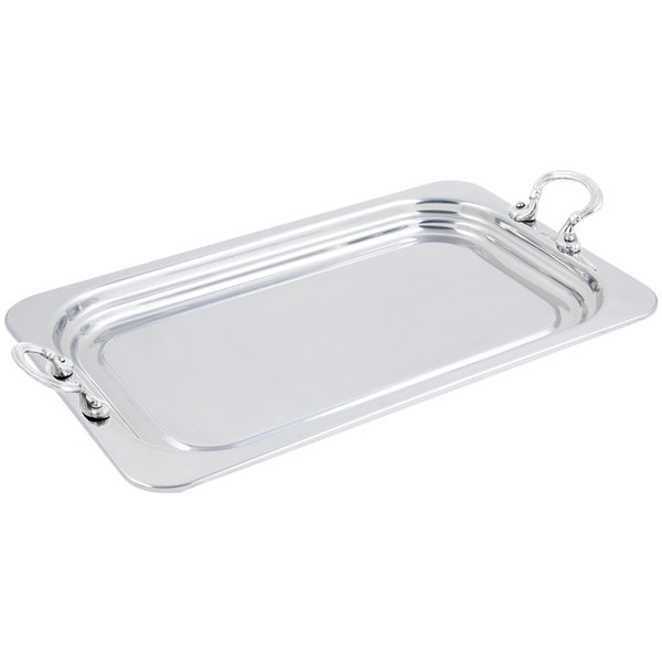 """Bon Chef 5207HRSS 22"""" x 14"""" x 1"""" Stainless Steel 4.5 Qt. Full Size Rectangular Plain Design Food Pan with Round Stainless Steel Handles"""