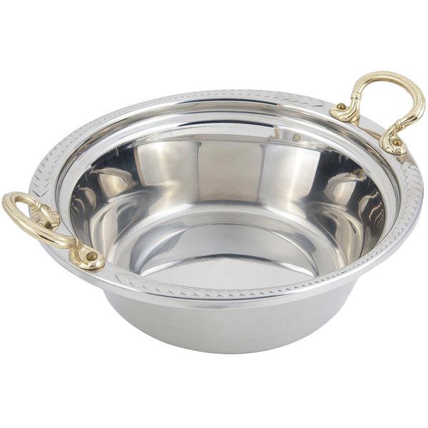 """Bon Chef 5456HR 13"""" x 12"""" x 4"""" Stainless Steel 4 Qt. Casserole Laurel Design Food Pan with Round Brass Handles"""
