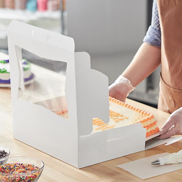 """Baker's Mark 14"""" x 10"""" x 4"""" White Window Cake / Bakery Box - 100/Bundle Main Image 5"""