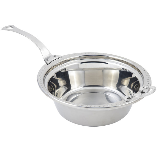 """Bon Chef 5356HLSS 13"""" x 12"""" x 4"""" Stainless Steel 4 Qt. Bolero Design Casserole Food Pan with Long Stainless Steel Handle"""
