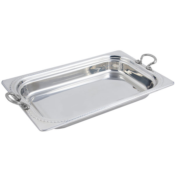 """Bon Chef 5408HRSS 22"""" x 14"""" x 3"""" Stainless Steel 9 Qt. Full Size Rectangular Laurel Design Food Pan with Round Stainless Steel Handles"""