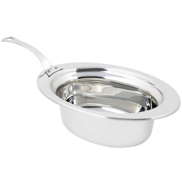 "Bon Chef 5203HLSS 13"" x 9"" x 5"" Stainless Steel 3.75 Qt. Full Size Oval Plain Design Food Pan with Long Stainless Steel Handle"