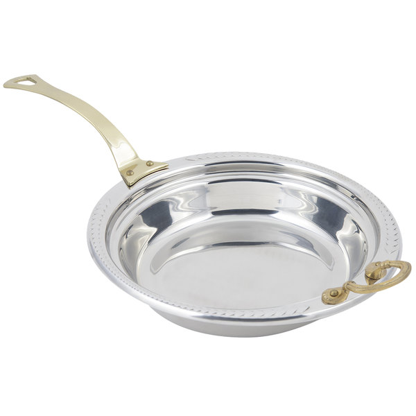 "Bon Chef 5455HL 13"" x 12"" x 3"" Stainless Steel 2.5 Qt. Casserole Laurel Design Food Pan with Long Brass Handle"