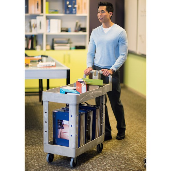 Rubbermaid FG450088BEIG Beige Small Lipped Two Shelf Utility Cart with Ergonomic Handle Main Image 3