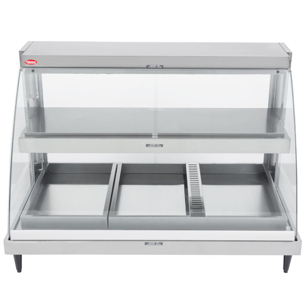 """Hatco GRCDH-3PD Glo-Ray Two Shelf Full Service Heated Display Case with Curved Glass and Bottom Shelf Humidity - 45 1/2"""""""