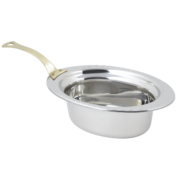 """Bon Chef 5603HL 13"""" x 9"""" x 5"""" Stainless Steel 3.75 Qt. Full Size Oval Arches Design Food Pan with Long Brass Handle"""