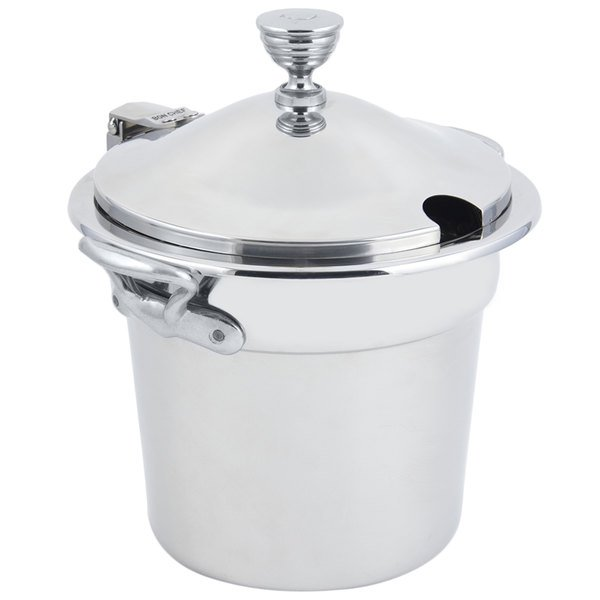 """Bon Chef 5211CHRSS 10 5/8"""" x 8 1/4"""" Stainless Steel 7 Qt. Plain Design Soup Inset with Chrome Accents and Round Stainless Steel Handles"""