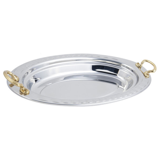 """Bon Chef 5688HR 19"""" x 11"""" x 2"""" Stainless Steel 2.5 Qt. Arches Design Oval Food Pan with Round Brass Handles"""