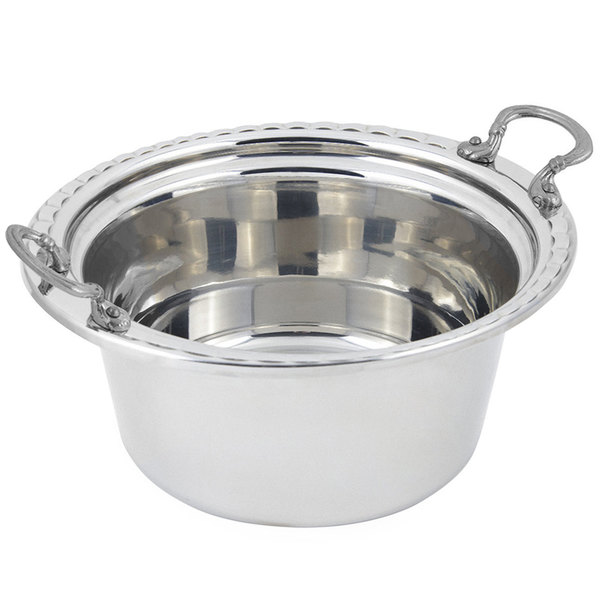 "Bon Chef 5660HRSS 12"" x 12"" x 6"" Stainless Steel 5 Qt. Arches Design Casserole Food Pan with Round Stainless Steel Handles"