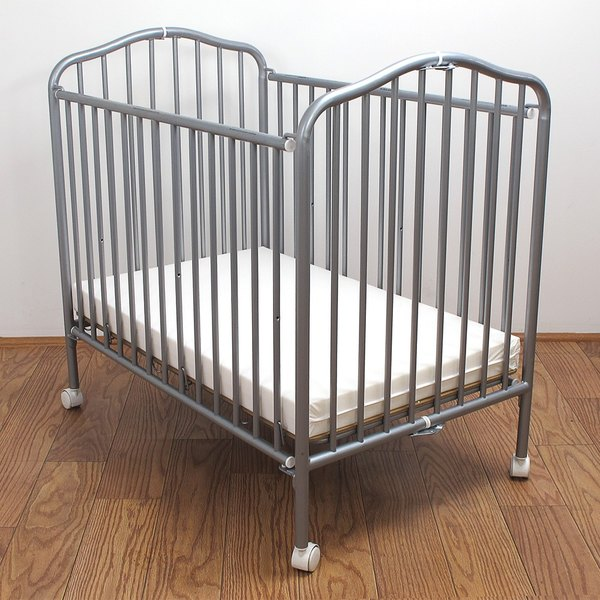 "L.A. Baby CS-81 24"" x 38"" Pewter Colored Metal Folding Crib with 2"" Flame Retardant Mattress Main Image 1"