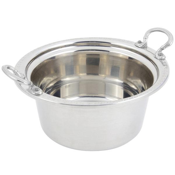 "Bon Chef 5360HRSS 12"" x 12"" x 6"" Stainless Steel 5 Qt. Bolero Design Casserole Food Pan with Round Stainless Steel Handles"
