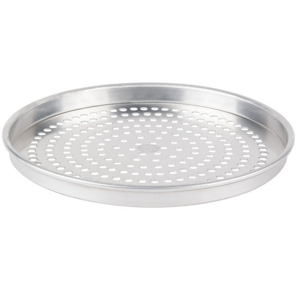 """American Metalcraft SPHA4013 13"""" x 1"""" Super Perforated Heavy Weight Aluminum Straight Sided Pizza Pan"""