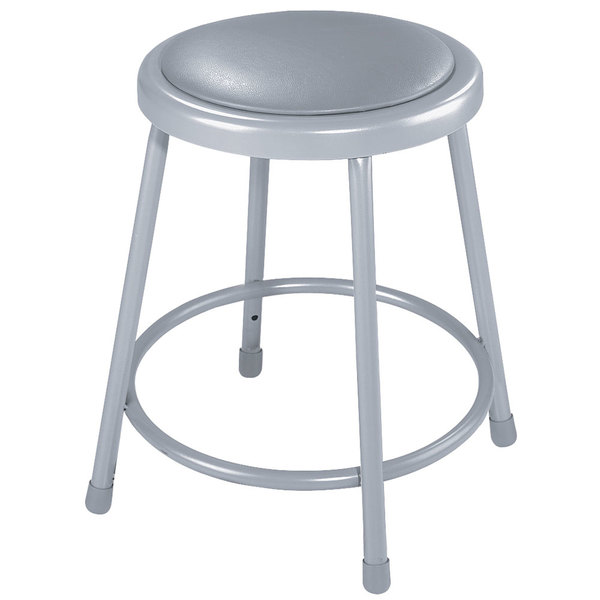 "National Public Seating 6418 18"" Gray Round Padded Lab Stool Main Image 1"
