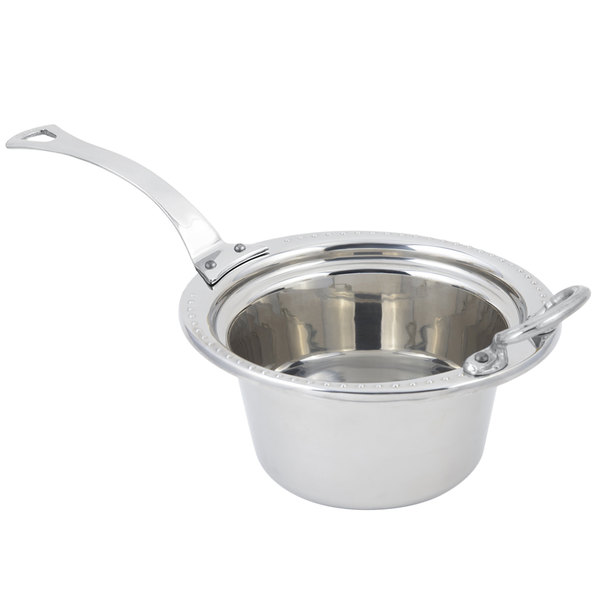 """Bon Chef 5350HLSS 10"""" x 9"""" x 5"""" Stainless Steel 2 Qt. Bolero Design Casserole Food Pan with Long Stainless Steel Handle"""