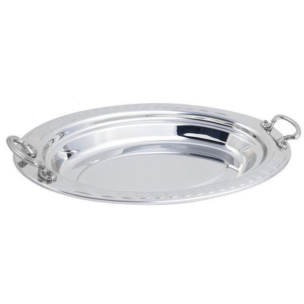 "Bon Chef 5688HRSS 19"" x 11"" x 2"" Stainless Steel 2.5 Qt. Arches Design Oval Food Pan with Round Stainless Steel Handles"