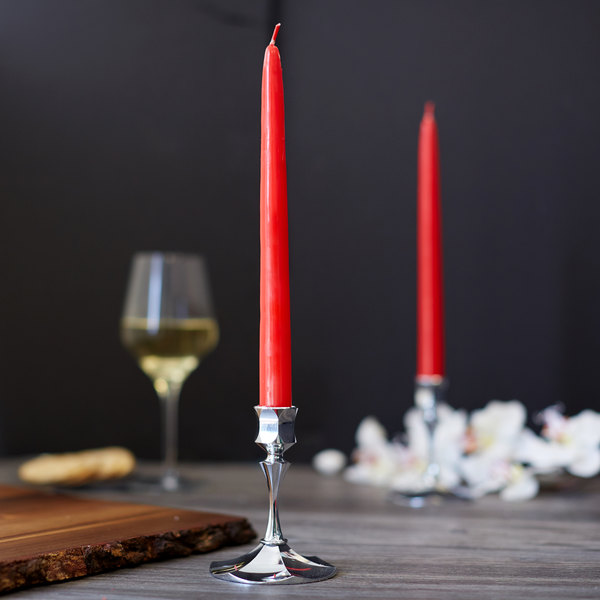 "Sterno Products 40140 10"" Red 10 Hour Taper Candle - 12/Box"
