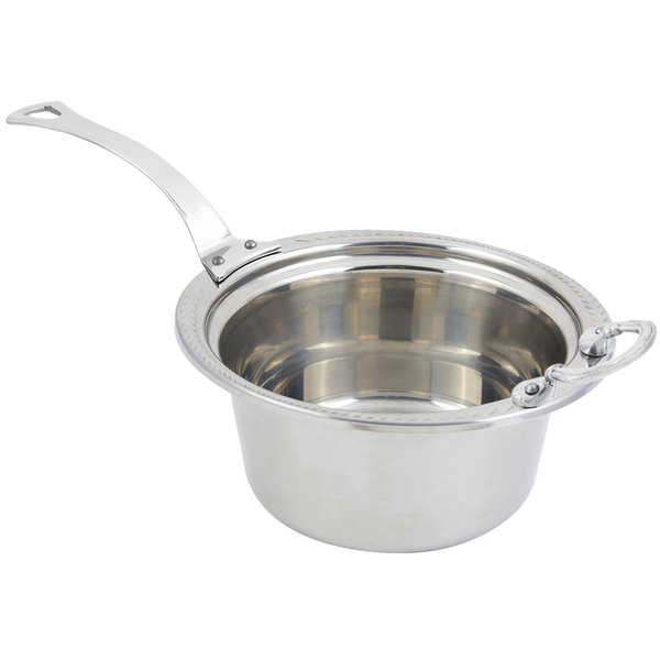"""Bon Chef 5460HLSS 12"""" x 12"""" x 6"""" Stainless Steel 5 Qt. Casserole Laurel Design Food Pan with Long Stainless Steel Handle"""