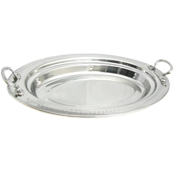 """Bon Chef 5388HRSS 19"""" x 11"""" x 2"""" Stainless Steel 2.5 Qt. Bolero Design Oval Food Pan with Round Stainless Steel Handles"""