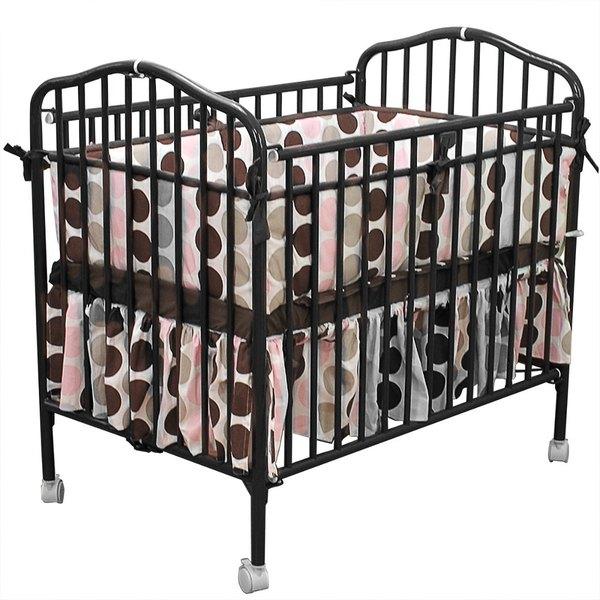 "L.A. Baby CS-81 24"" x 38"" Black Metal Folding Crib with 2"" Flame Retardant Mattress"