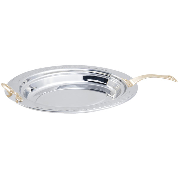 """Bon Chef 5688HL 19"""" x 11"""" x 2"""" Stainless Steel 2.5 Qt. Arches Design Oval Food Pan with Long Brass Handle"""