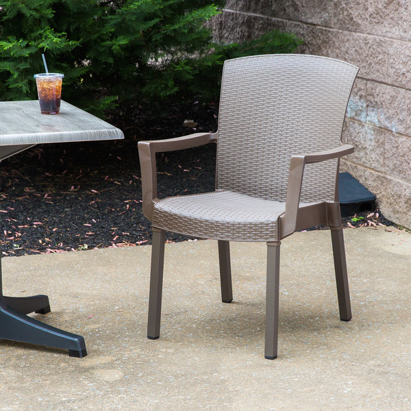 Pack of 4 Grosfillex 45903037 / US903037 Havana Espresso Classic Stacking Resin Armchair
