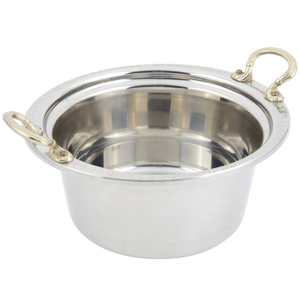 "Bon Chef 5360HR 12"" x 12"" x 6"" Stainless Steel 5 Qt. Bolero Design Casserole Food Pan with Round Brass Handles"