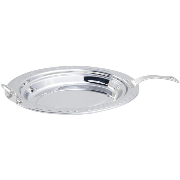 "Bon Chef 5688HLSS 19"" x 11"" x 2"" Stainless Steel 2.5 Qt. Arches Design Oval Food Pan with Long Stainless Steel Handle"