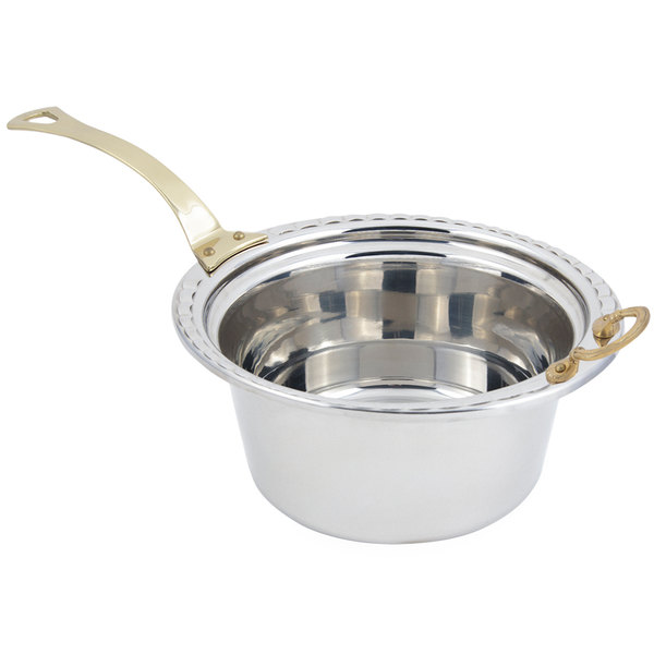 "Bon Chef 5660HL 12"" x 12"" x 6"" Stainless Steel 5 Qt. Arches Design Casserole Food Pan with Long Brass Handle"