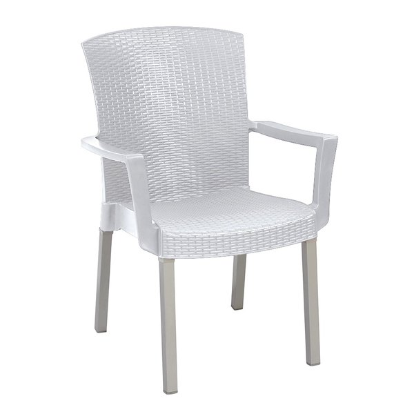 Case of 12 Grosfillex 45903004 / US903004 Havana White Classic Stacking Resin Armchair