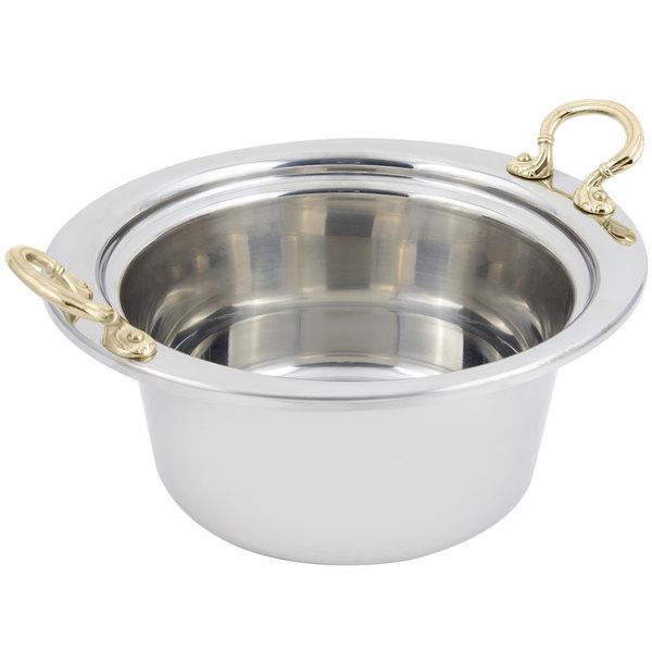 "Bon Chef 5260HR 12"" x 12"" x 6"" Stainless Steel 5 Qt. Plain Design Casserole Food Pan with Round Brass Handles"