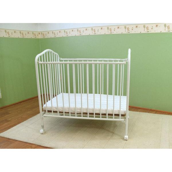 "L.A. Baby CS-81 24"" x 38"" White Metal Folding Crib with 2"" Flame Retardant Mattress Main Image 1"