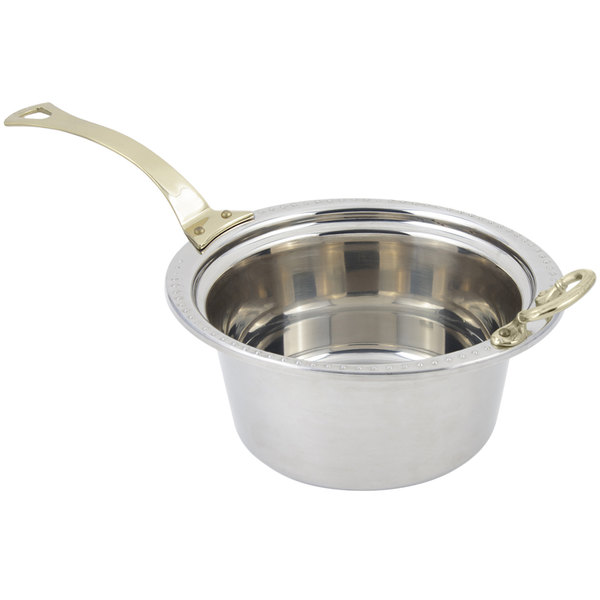 "Bon Chef 5360HL 12"" x 12"" x 6"" Stainless Steel 5 Qt. Bolero Design Casserole Food Pan with Long Brass Handle"