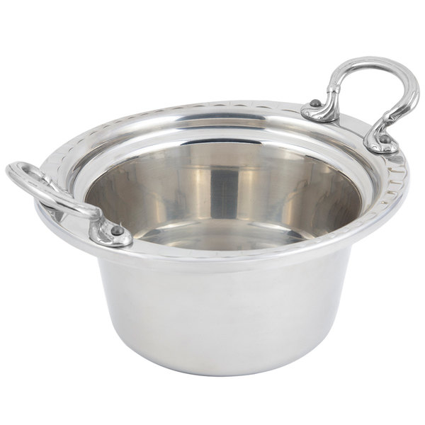 "Bon Chef 5650HRSS 10"" x 9"" x 5"" Stainless Steel 2 Qt. Arches Design Casserole with Round Stainless Steel Handles"