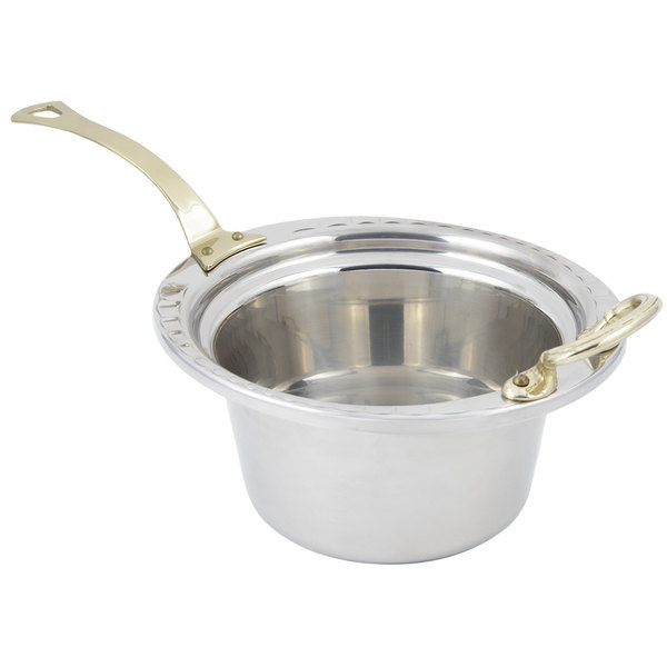 """Bon Chef 5650HL 10"""" x 9"""" x 5"""" Stainless Steel 2 Qt. Arches Design Casserole Food Pan with Long Brass Handle"""