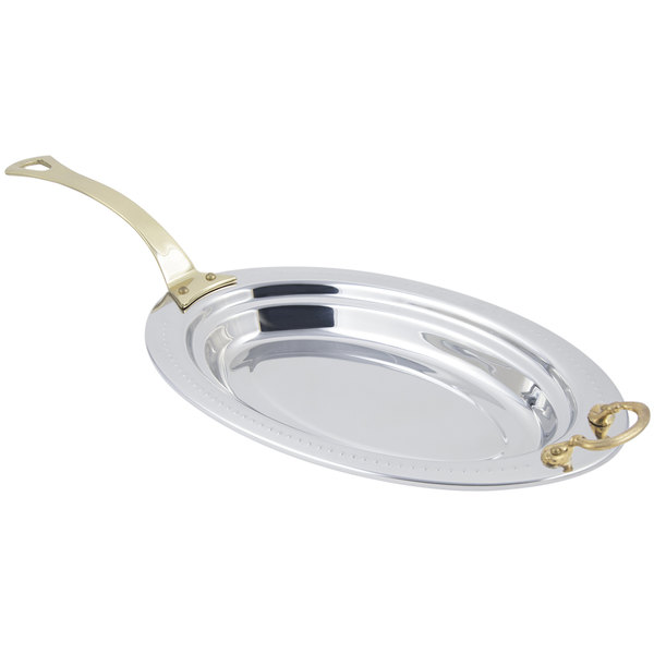 "Bon Chef 5388HL 19"" x 11"" x 2"" Stainless Steel 2.5 Qt. Bolero Design Oval Food Pan with Long Brass Handle"