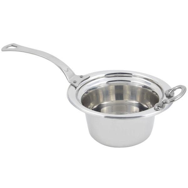 """Bon Chef 5250HLSS 10"""" x 9"""" x 5"""" Stainless Steel 2 Qt. Plain Design Casserole Food Pan with Long Stainless Steel Handle"""