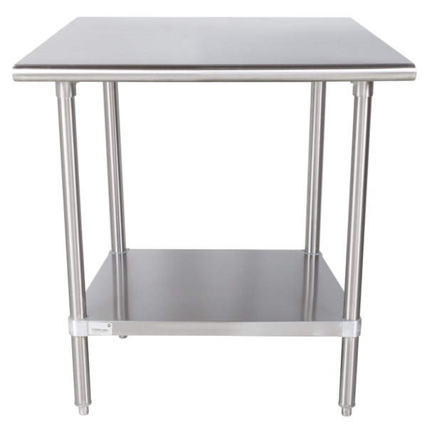 "Advance Tabco MS-300 30"" x 30"" 16 Gauge Stainless Steel Commercial Work Table with Stainless Steel Undershelf"