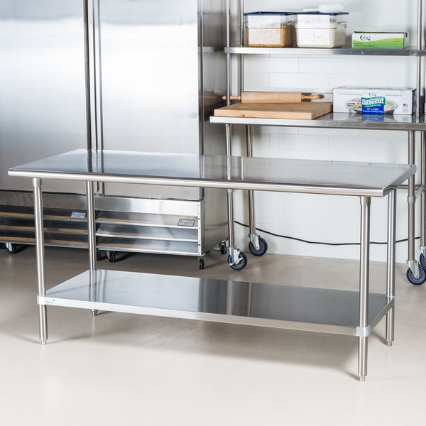 """Advance Tabco MS-306 30"""" x 72"""" 16 Gauge Stainless Steel Commercial Work Table with Stainless Steel Undershelf"""