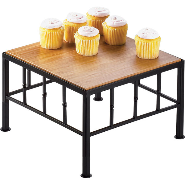 "Cal-Mil 1711-7-60 Iron Black Square Riser with Bamboo Top - 12"" x 7"""