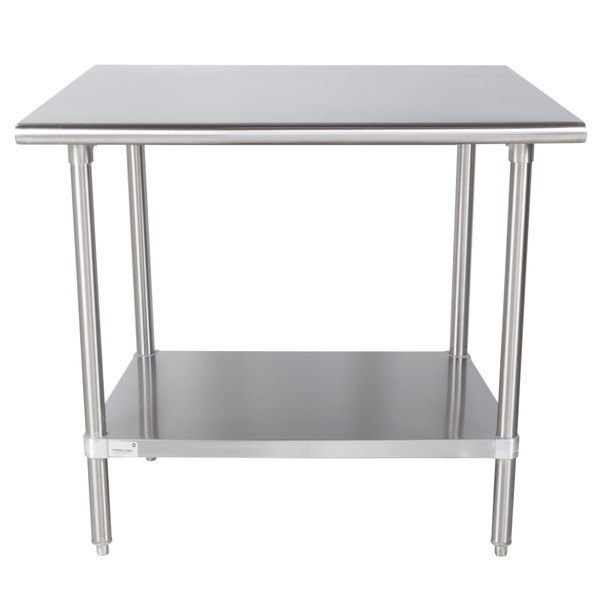 "Advance Tabco MS-363 36"" x 36"" 16 Gauge Stainless Steel Commercial Work Table with Stainless Steel Undershelf"