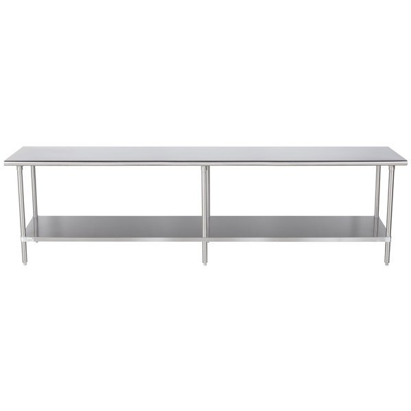 """Advance Tabco MS-3011 30"""" x 132"""" 16 Gauge Stainless Steel Commercial Work Table with Stainless Steel Undershelf"""