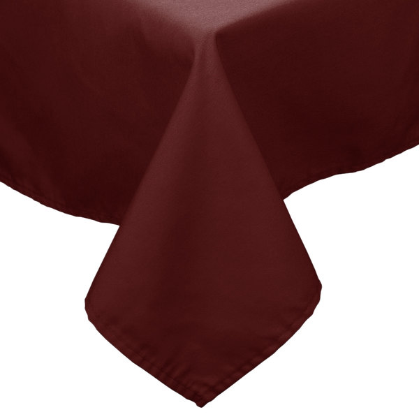 72 inch x 72 inch Burgundy 100% Polyester Hemmed Cloth Table Cover