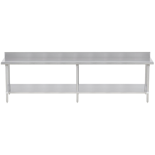 "Advance Tabco KSS-3610 36"" x 120"" 14 Gauge Work Table with Stainless Steel Undershelf and 5"" Backsplash"